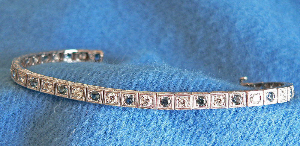 White Gold Line Bracelet with Diamonds and Sapphires