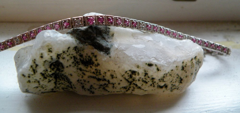 Line Bracelet with Pink Sapphires and Diamonds