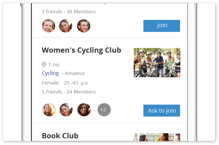 Groups   Users can create, discover and join different interest groups and activities.  - Read more