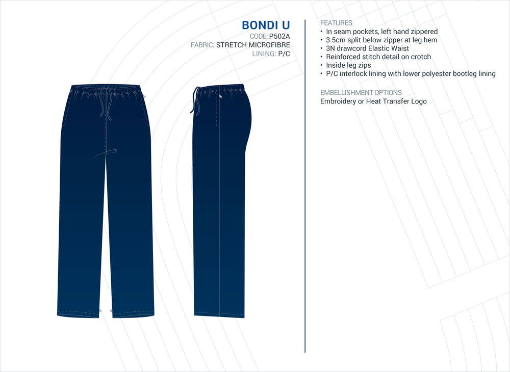 Unisex  Bondi  Stretch Microfibre Trackpants