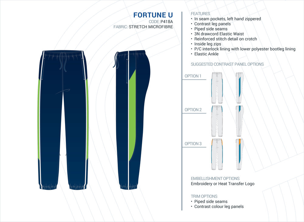 Unisex  Fortune  Stretch Microfibre Trackpants