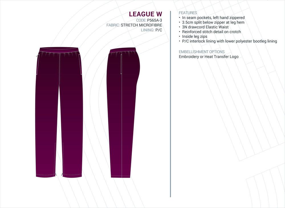 Women's  League  Stretch Microfibre Trackpants