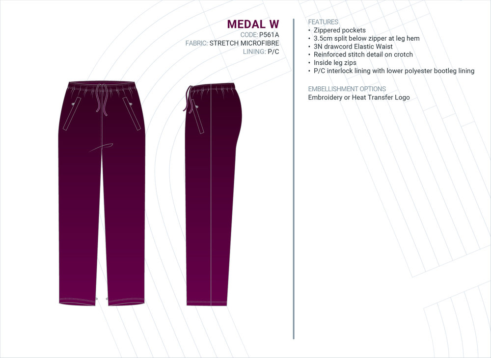 Women's  Medal  Stretch Microfibre Trackpants