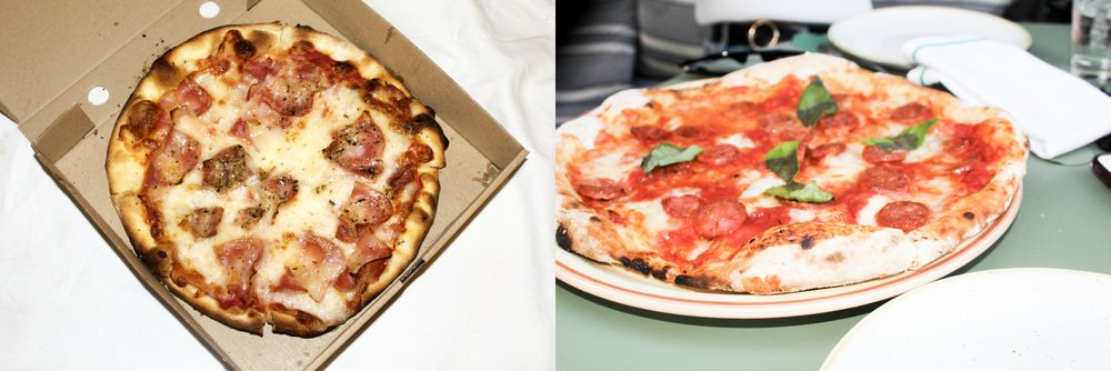 (left) San Marino Pizzeria - Bacon (right) Resturante Bivio - Chorizo Caliente