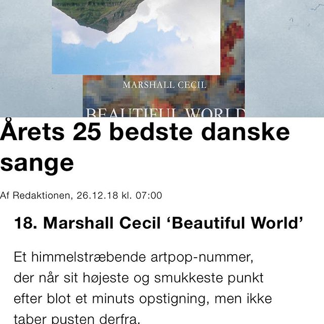 'Beautiful World' featured on @soundvenue top 25 best danish tracks of 2018! We'll be back in '19 with more music! 💫✨😚