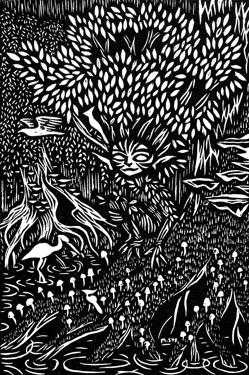 The Woods Witch  linocut relief print