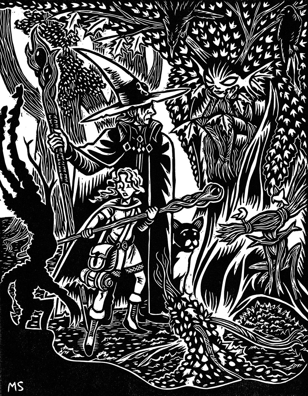 The Wizard, the Apprentice, & the Woods Witch  linocut relief print