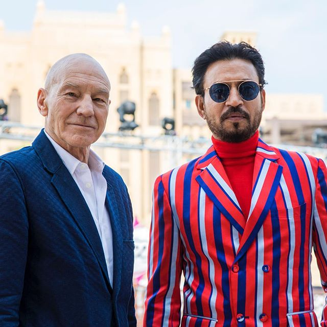 The definition of cool @sirpatstew with the wildly talented @irrfan - both award winners @dubaifilmfestival recently, a pleasure to work with them both - wishing Irffan the speediest of recoveries . . . . . #lifeofpi #livelongandprosper #anotherdayattheoffice #filmfestivals #proshooters #canonphotography #5dmarkiv
