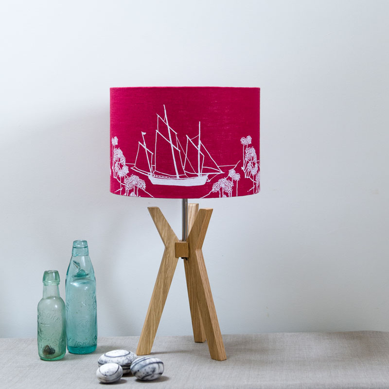 HELEN ROUND Coastal Collection Linen Laampshade 20cm Raspberry-800x800.jpg
