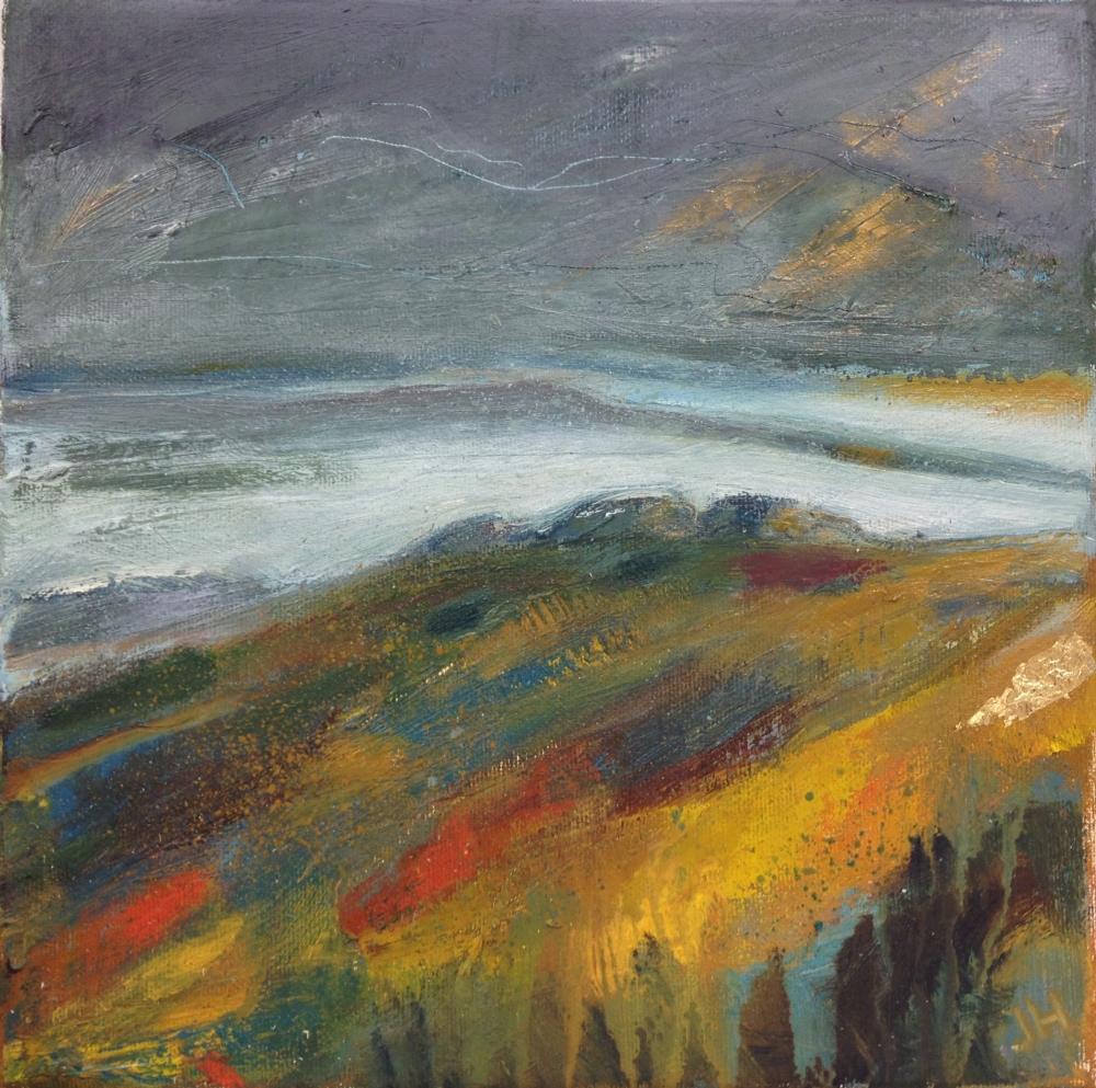 Mists towards Hound Tor - Oil, acrylic and gold leaf on box canvas25 x 25 cm, on box canvas£195