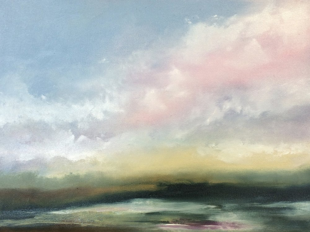 Sticklepath Sunrise - Original oil painting46.5 x 36 cm (including wooden hand-painted silver frame)£245