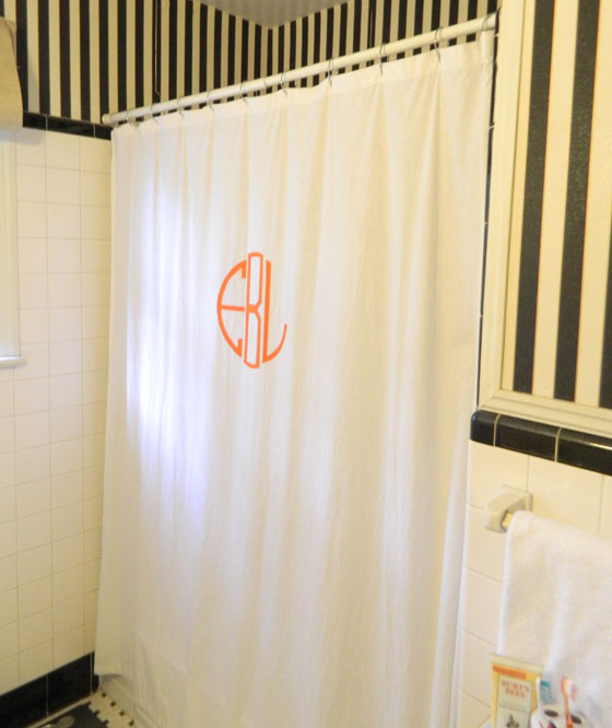 DIY monogrammed shower curtain — Eileen and Co