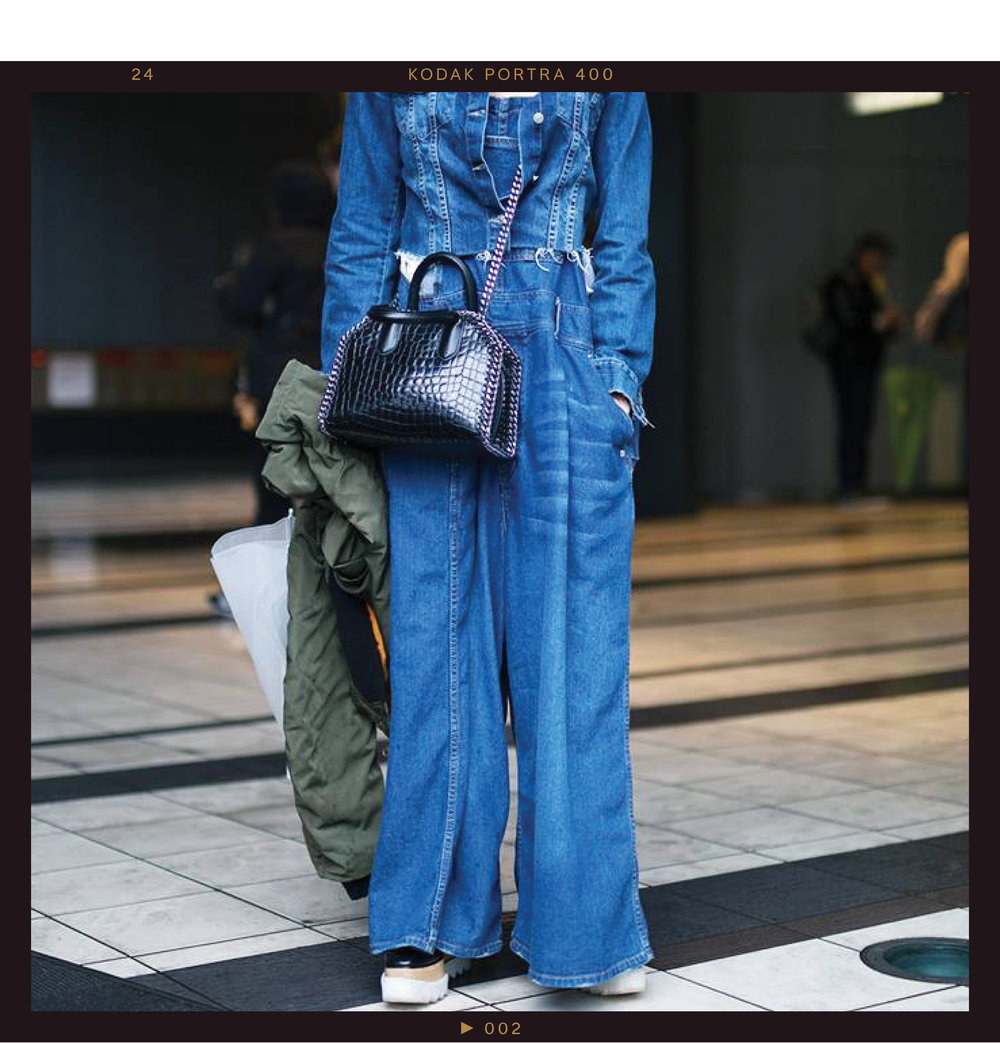 This denim jumpsuit look requires few additional accessories to make a statement. If you look closely, you'll see that it's actually a pair of  wide-leg  overalls topped off with a matching jean jacket.  Black leather platform brogues  give the denim-on-denim look an added cool factor, and the army-green bomber jacket brings it all together in colder weather.