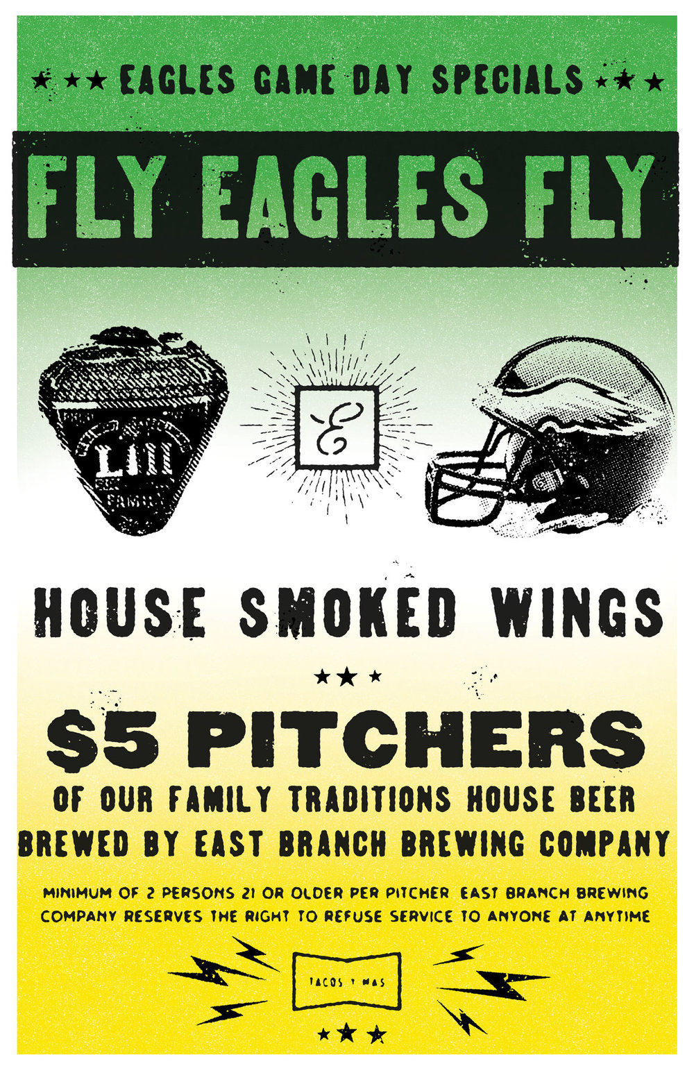 Join us every Eagles Game Day for $5 Beer Pitchers, House-Smokes Wings & More!