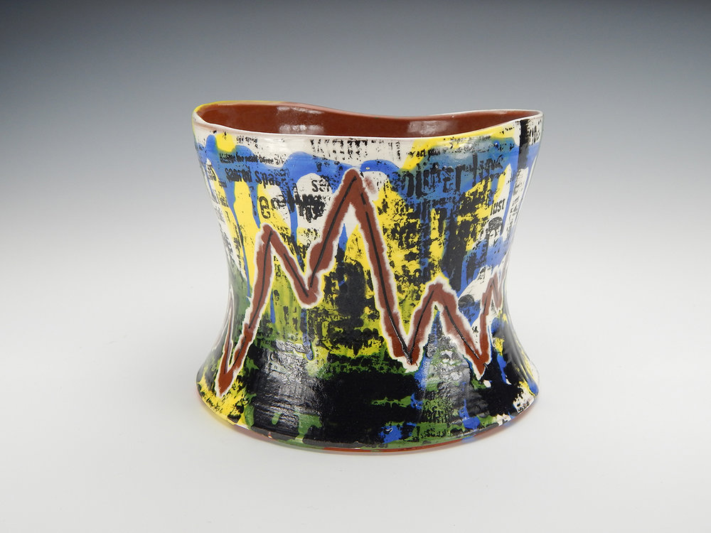 """Tantric Vase"" (2015) - Wheel-thrown and altered terra cotta clay, slip, underglazes, glaze. 5"" x 5.5"" x 5.5""."