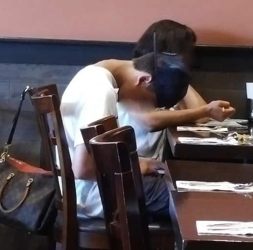 This kid has been texting so long, his body adapted to this position.  And Rightly So!  Any repetitive motion will be memorized in the body.  Its designed to do that