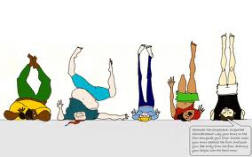 Everyone was in their version of shoulder stand