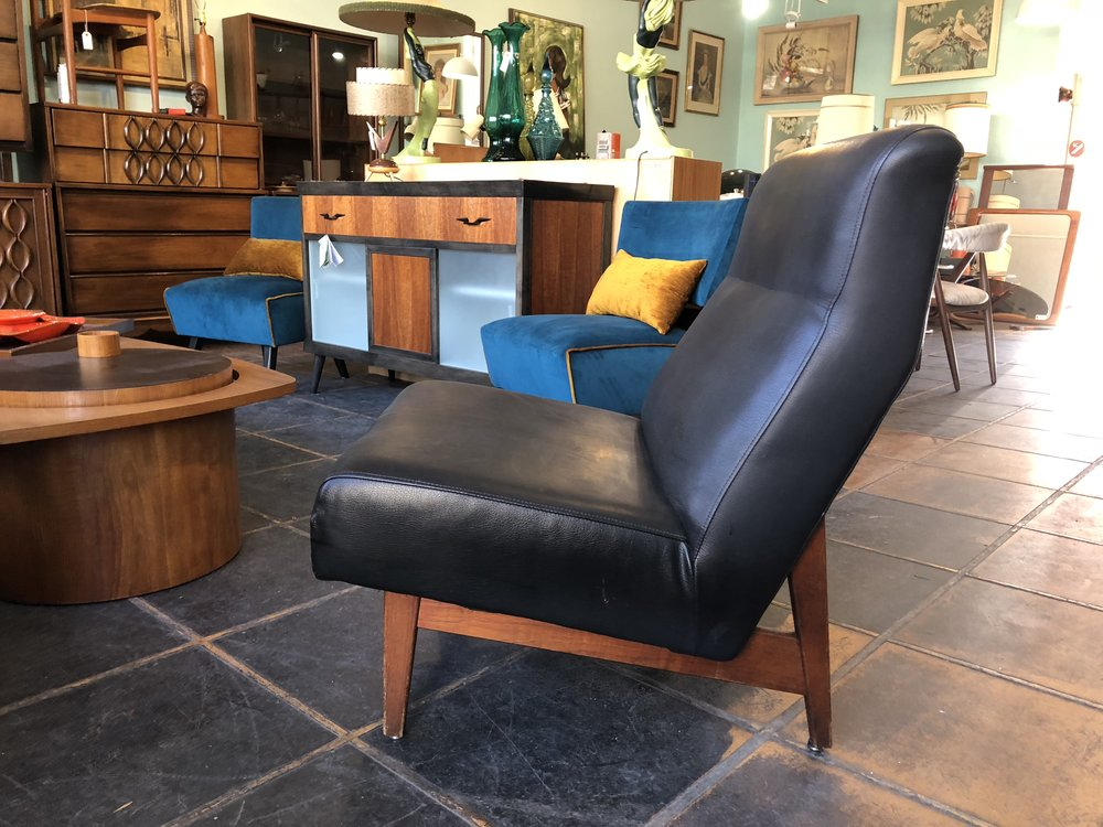 Teak and Vinyl Lounger $495