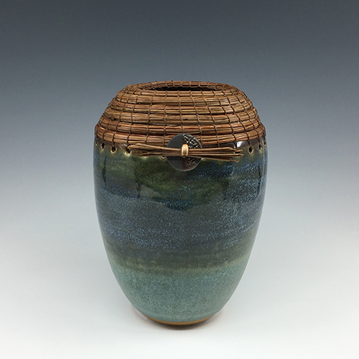 Green vase with Raku button