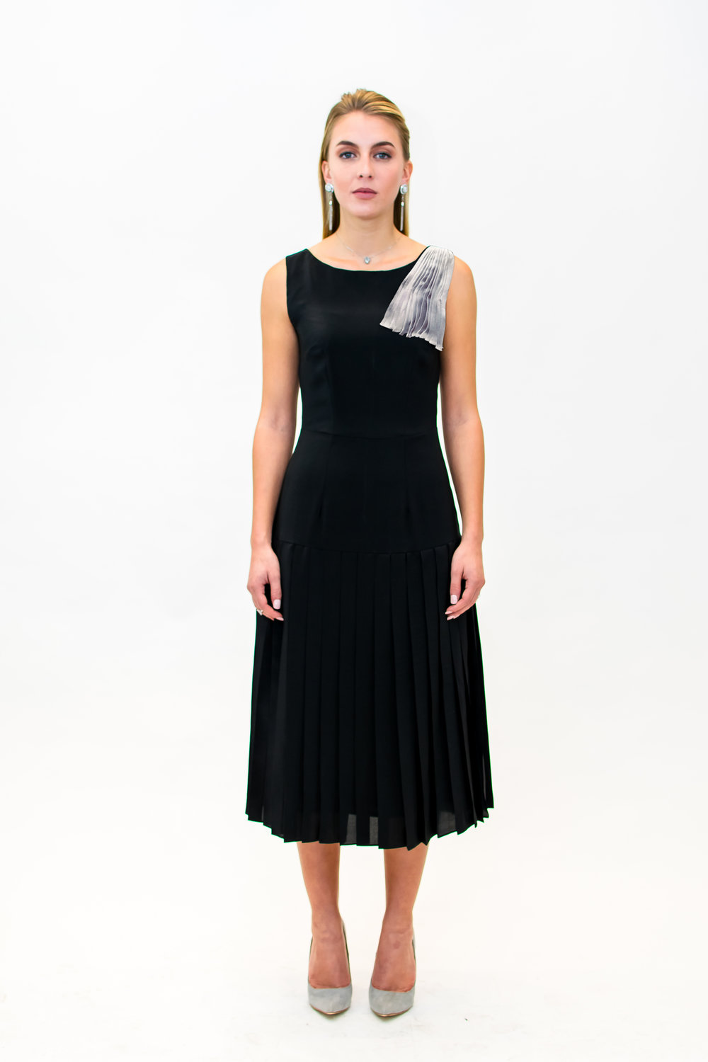 Dress with pleat detail