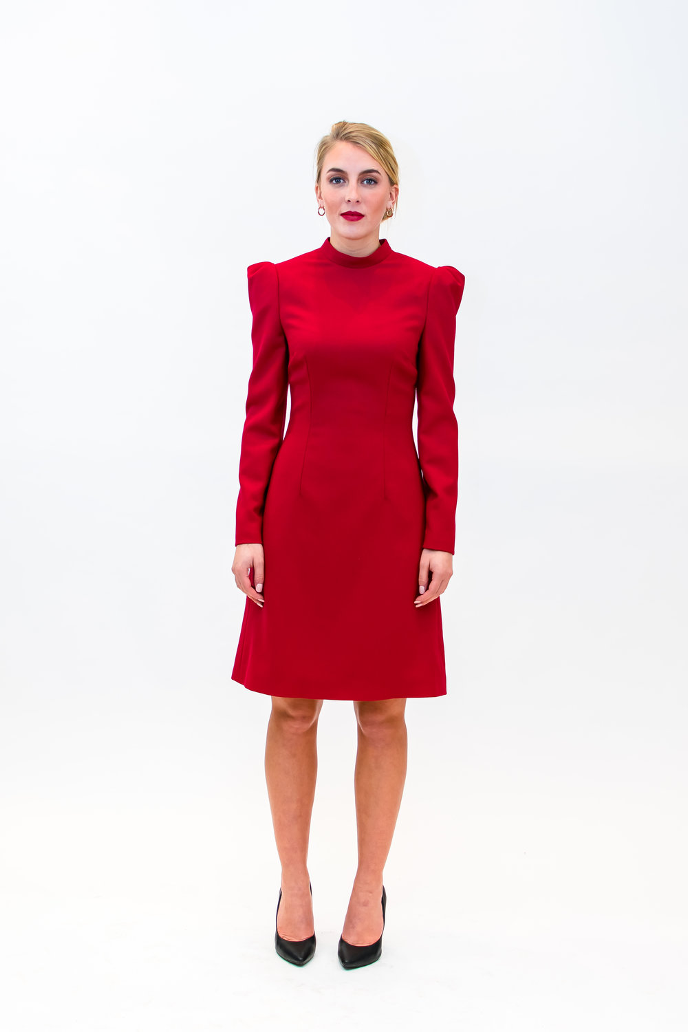 Long sleeve dress with stand up collar