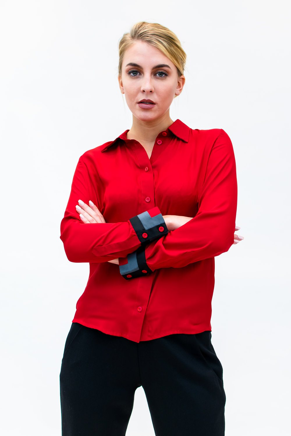 Blouse with 3 colour cuff