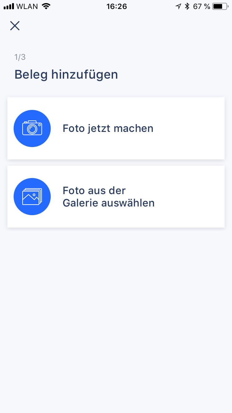 Riso App Screenshot Beleg Upload Schritt 1 iOS