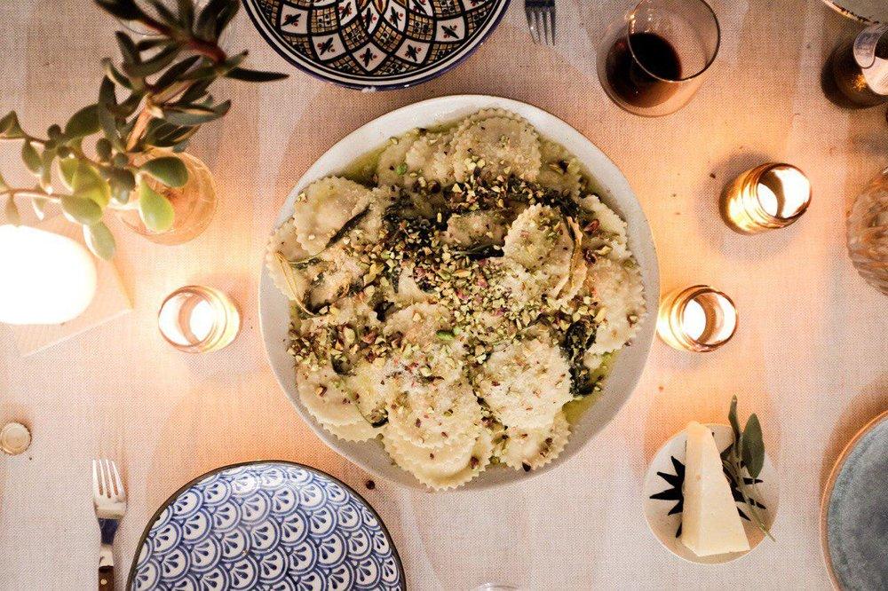 Pumpkin Ravioli with Butter, Sage & Pistachio