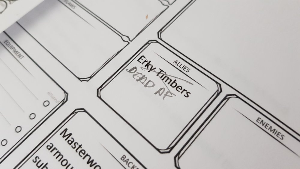 from Tom's character sheet