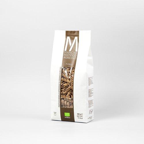 FUSILLI INTEGRALI - La nostra pasta è prodotta da grano duro prodotto direttamente dalla nostra azienda. Gli unici ingredienti sono la semola e l'acqua, trafiliamo la nostra pasta al bronzo e la lasciamo seccare ad una temperatura di 44°C, e la pasta corta è lasciata asciugare per 20 ore. I Fusilli Integrali hanno una lunghezza di 44mm e una larghezza di 1.2mm. Il tempo di cottura ideale è tra i 7 e i 9 minuti.