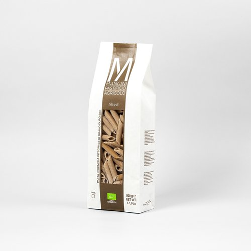 PENNE INTEGRALI - La nostra pasta è prodotta da grano duro prodotto direttamente dalla nostra azienda. Gli unici ingredienti sono la semola e l'acqua, trafiliamo la nostra pasta al bronzo e la lasciamo seccare ad una temperatura di 44°C, e la pasta corta è lasciata asciugare per 20 ore. Le Penne Integrali hanno una lunghezza di 45mm ed un larghezza di 1.2mm. Il tempo di cottura ideale è tra i 7 e i 9 minuti.
