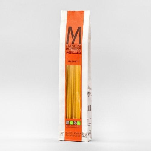 SPAGHETTI - La nostra pasta è prodotta da grano duro prodotto direttamente dalla nostra azienda. Gli unici ingredienti sono la semola e l'acqua, trafiliamo la nostra pasta al bronzo e la lasciamo seccare ad una temperatura di 44°C, e la pasta lunga è lasciata asciugare per 40 ore. Gli Spaghetti hanno un diametro di 2.2 mm ed una lunghezza di 260mm. Il tempo di cottura ideale è tra i 9 e gli 11 minuti.