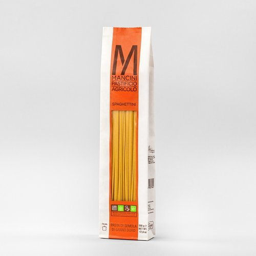 SPAGHETTINI - La nostra pasta è prodotta da grano duro prodotto direttamente dalla nostra azienda. Gli unici ingredienti sono la semola e l'acqua, trafiliamo la nostra pasta al bronzo e la lasciamo seccare ad una temperatura di 44°C, e la pasta lunga è lasciata asciugare per 40 ore. Gli Spaghettini hanno un diametro di 1.8mm ed una lunghezza di 260mm. Il tempo di cottura ideale è tra i 5 e i 7 minuti.