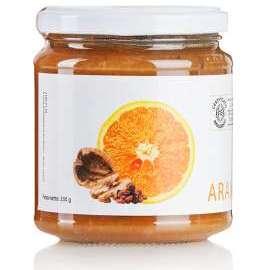 MARMELLATA DI ARANCE, NOCI  E UVETTA  - Descrizione: Le arance, le noci e l'uvetta diventano un'ottima marmellata da abbinare a formaggi freschi e stagionati.Ingredienti: arance bio, zucchero di canna bio, noci bio, uvetta bio