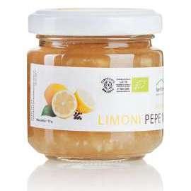 CONFETTURA DI LIMONI E PEPE NERO - Descrizione: Il limone ha proprietà depurative disintossicanti dell'organismo e la sua assunzione regolare, preferibilmente al mattino quando si è digiuni, aiuta a regolarizzare l'intestino. L'aggiunta del pepe nero conferisce alla confettura un aroma prelibato da abbinare a formaggi freschi e stagionati.Ingredienti: limoni bio, pepe nero, zucchero di canna bio.