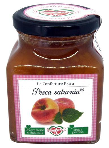 CONFETTURA DI PESCA SATURNINA       - Ingredienti: Pesca 74%, Zucchero, Succo di Limone.Frutta utilizzata 130g per 100g di prodotto finitoSenza l'aggiunta di coloranti ne conservanti. Senza pectina.