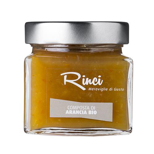 COMPOSTA DI ARANCIA  - Descrizione: Composta artigianale di arancia bio di Sicilia. Questa composta contiene un'alta percentuale di frutta, più del 70%, e una bassa percentuale di zuccheri. Ingredienti: arance italiane* (73%), zucchero di canna*, succo di limone*, gelificante: pectina di mele. *Biologico