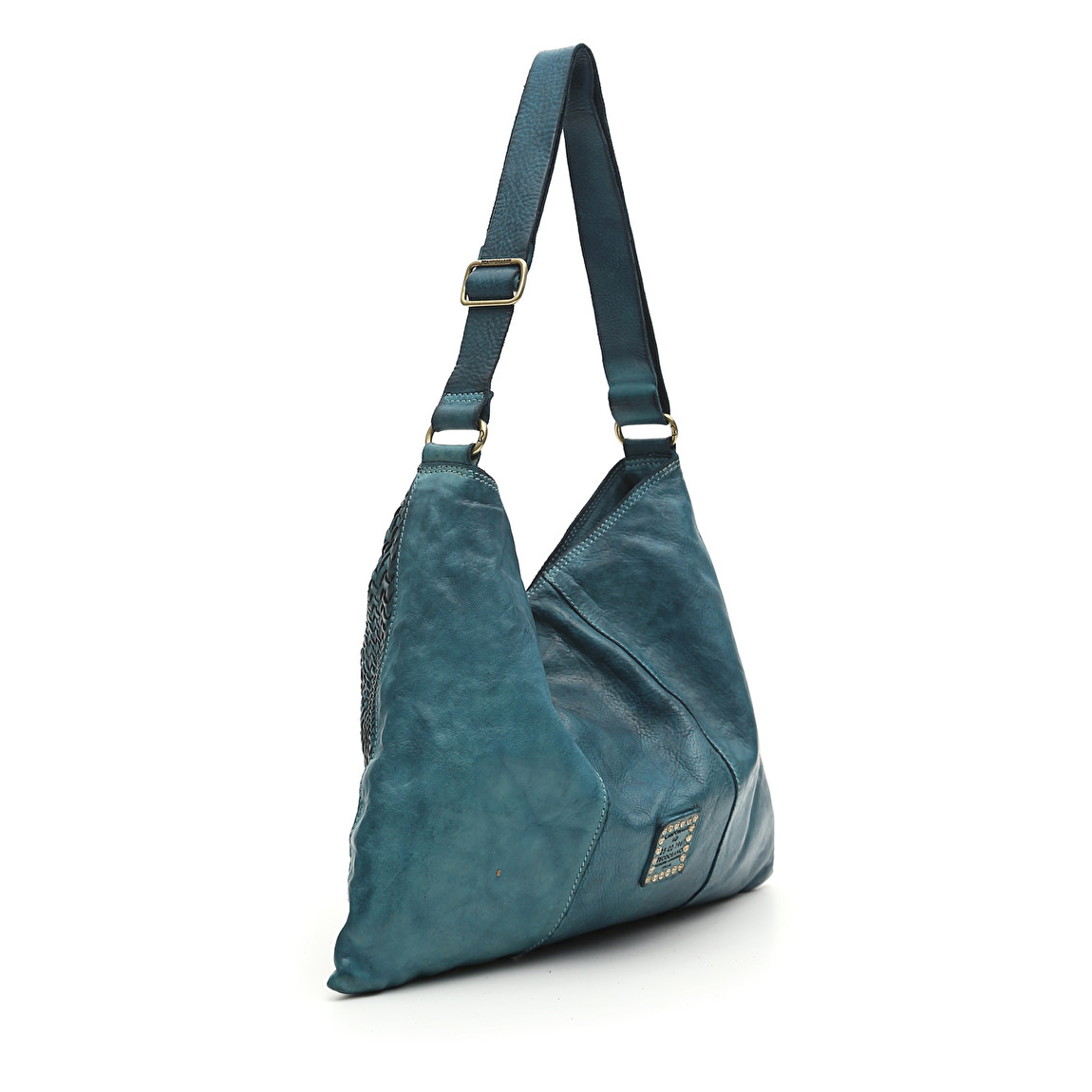 334b6b75cab9 Bag in aviation blue whitened leather and weaving Edera — LA LONDON