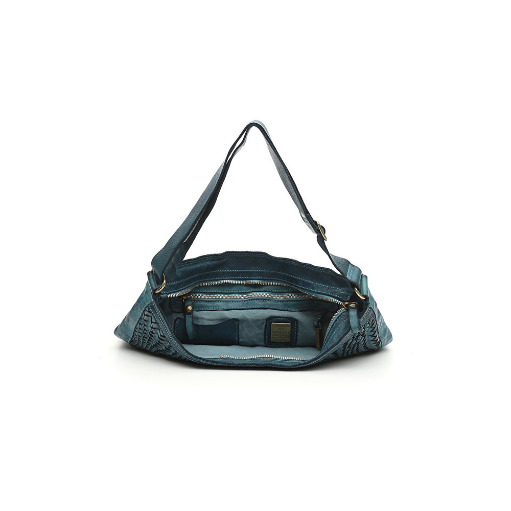 781cbe0fc915 Bag in aviation blue whitened leather and weaving Edera — LA LONDON