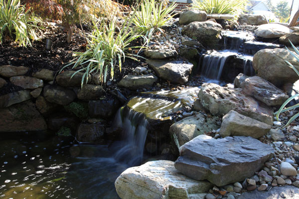 Pond Water Feature with Three Tier Waterfalls.JPG