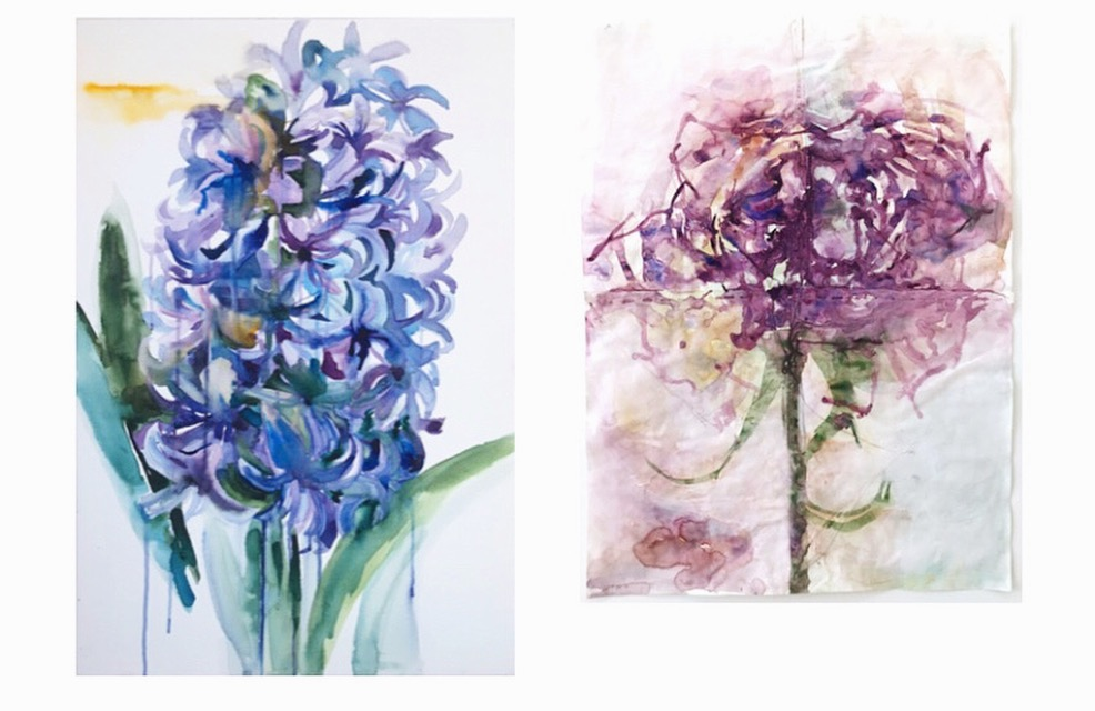 Images of paintings by Sirikul Pattachote from 'Flower Offerings' 2018.
