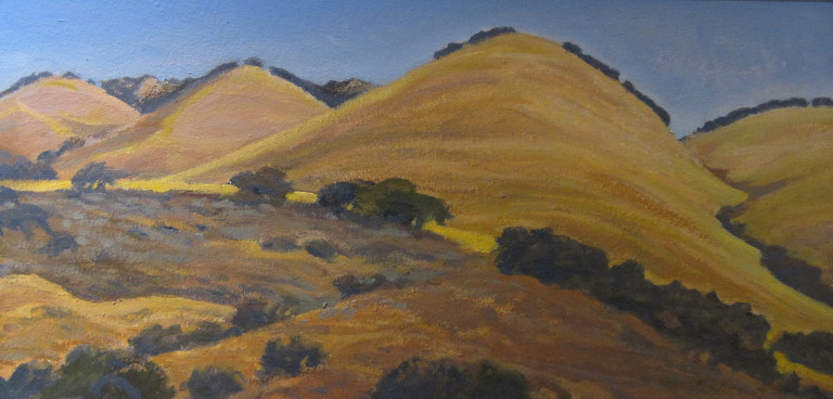 Ray Strong, Golden Hills, oil on board, (detail)