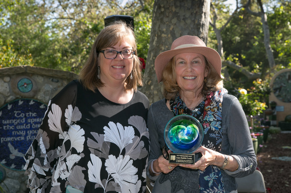 In 2018  Joan Easton Lentz  received the  Wilderness Spirit Award , pictured above with Stacey Otte-Demangate, Executive Director of the Wildling. Photo Credit: George Rose