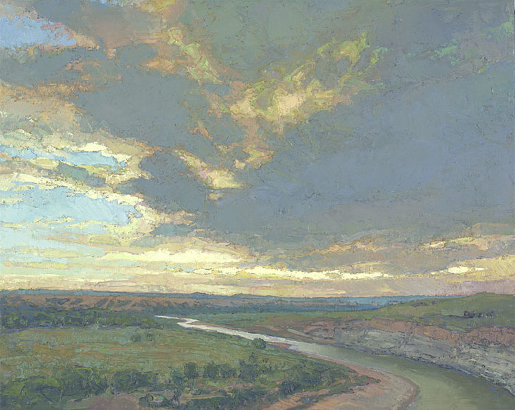 Sunset over Theodore Roosevelt Wilderness, oil on linen by Thomas Paquette