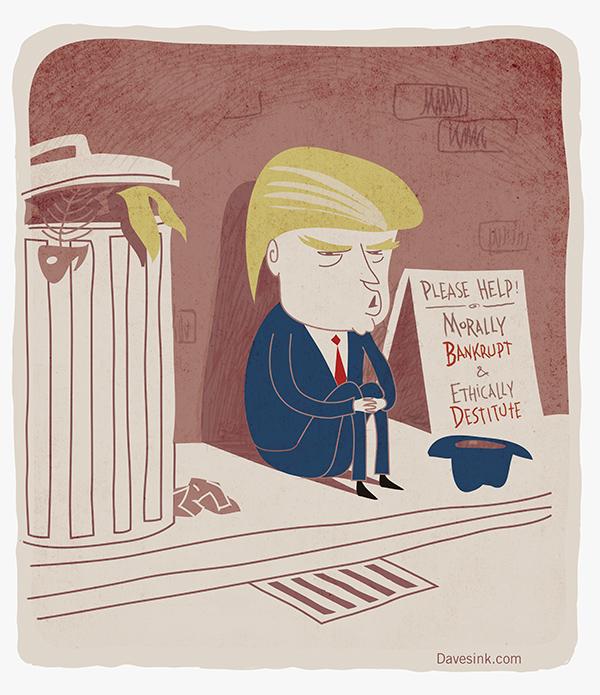 Morally bankrupt Donald Trump