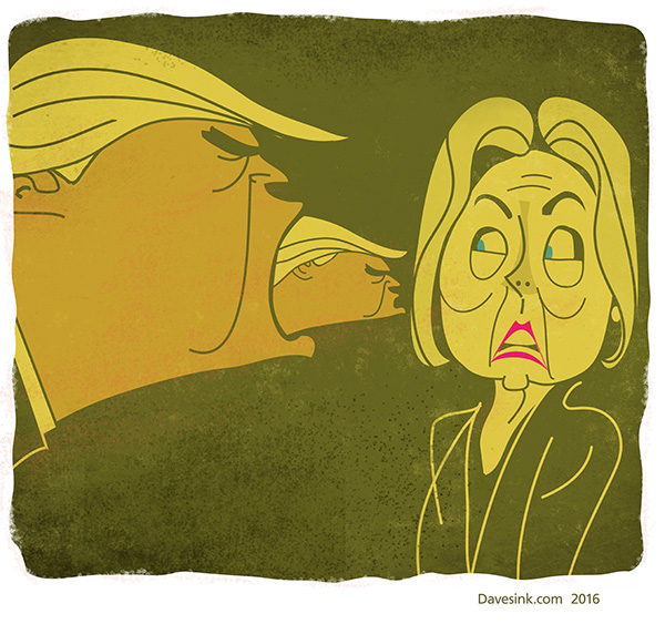 Hillary tormented by Alien Trump