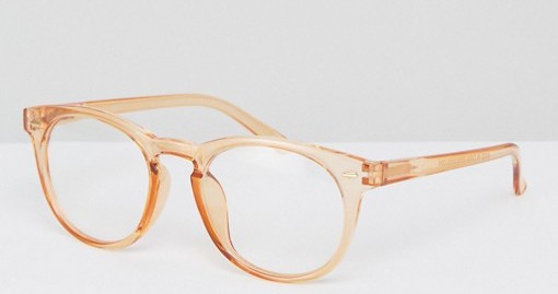 Clear Orange-Rimmed Glasses -