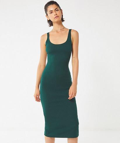 1. Green Ribbed Dress -