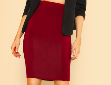 2. Burgundy Pencil Skirt -