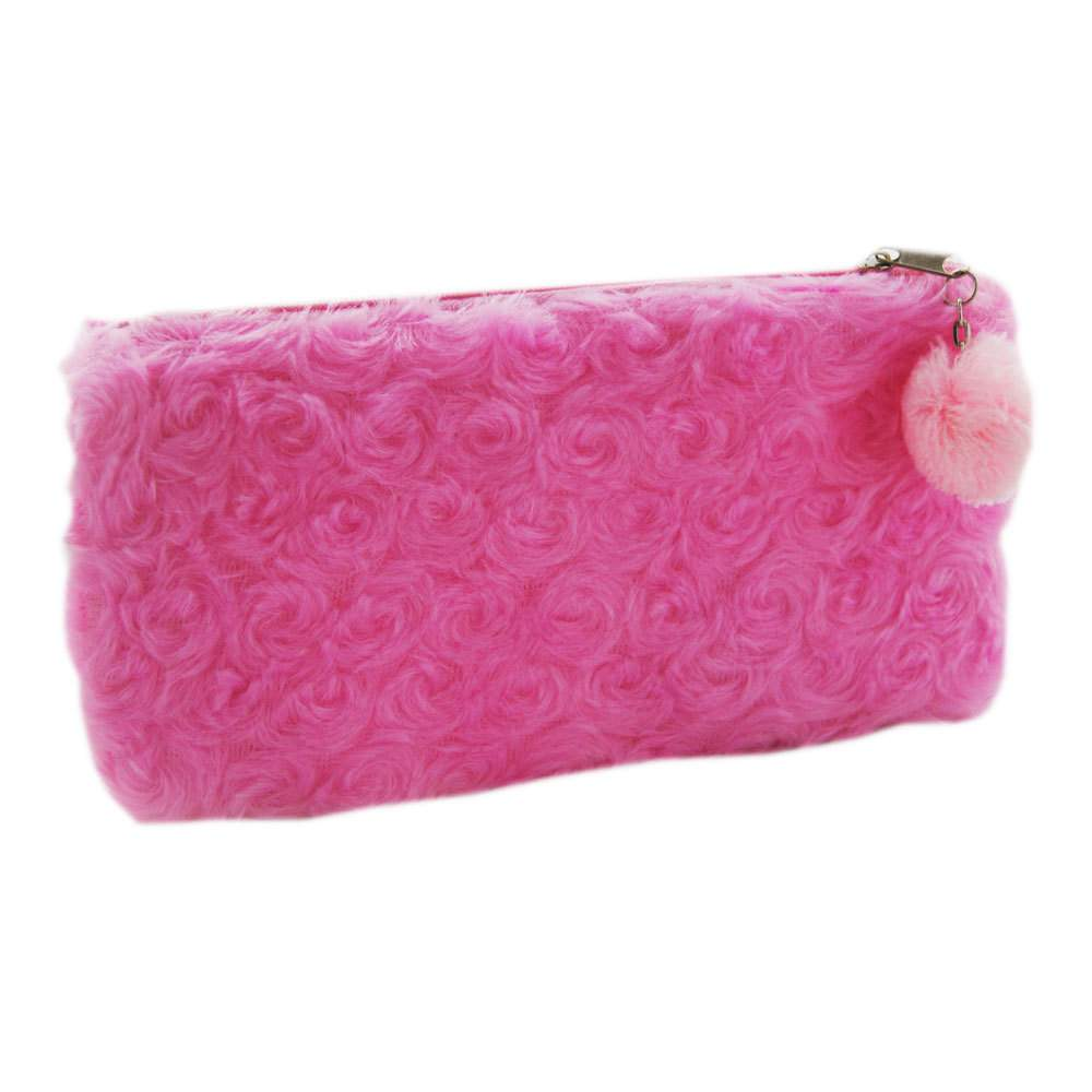 2. Furry Pink Pencil Case -